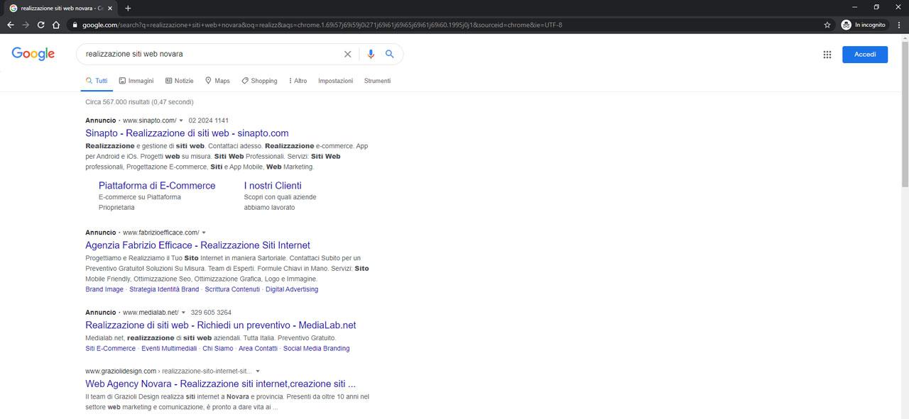 La SERP realizzazione siti web Novara